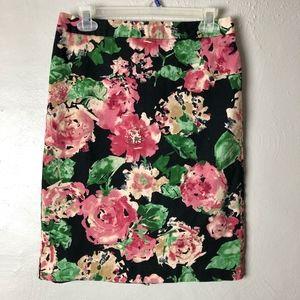 Talbots Floral Design Career Pencil Skirt Womens 4